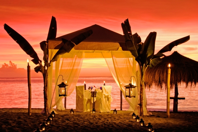 Caribbean      St. Lucia     Anse Chastanet Beach tented dinner, sunset
