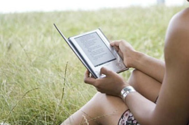 Woman with e-reader
