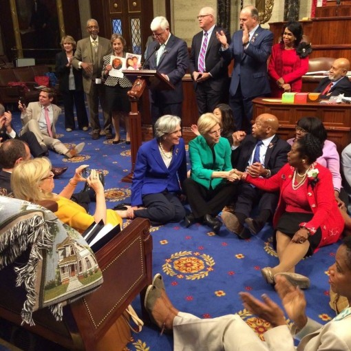 U.S. Congress: Conducting a Fervent Sit-in to Force a Vote on Gun Violence
